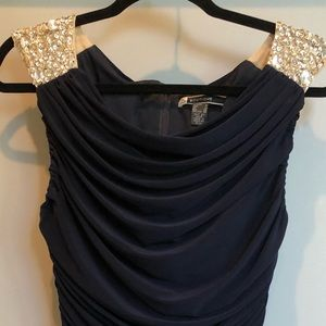 Navy ruched dress with beaded shoulders